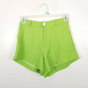 Capulet Women Linen Shorts High Waisted Green